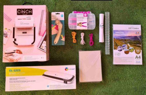 Kit encuadernación cinch cuadrada rosada