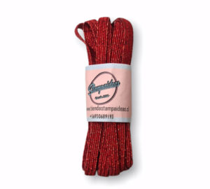 Elastico plano rojo glitter 5 mm x 5 mts